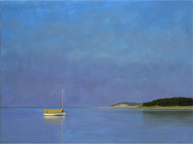 """""""Wooden Boat Early Morning, Wellfleet Harbor""""  Oops! Slipped in an actual painting.  Oil on Canvas Painting by Paul Schulenburg  www.schulenburgstudio.com  www.addisonart.com/schulenburg_P_coastalViews.html"""