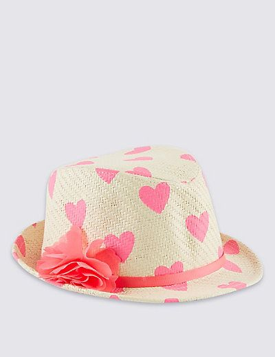 £10 Straw Floral Corsage Trilby Hat (5-14 Years)   M&S