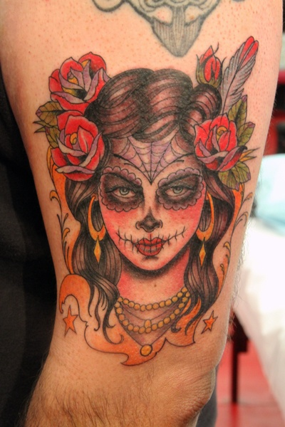 Day of the dead skull rose feather spider web tattoo catrina for Kat von d tattoos portfolio