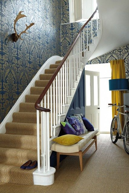 Add a wallpaper for a bold statement....the mustard accents really makes it all come alive!