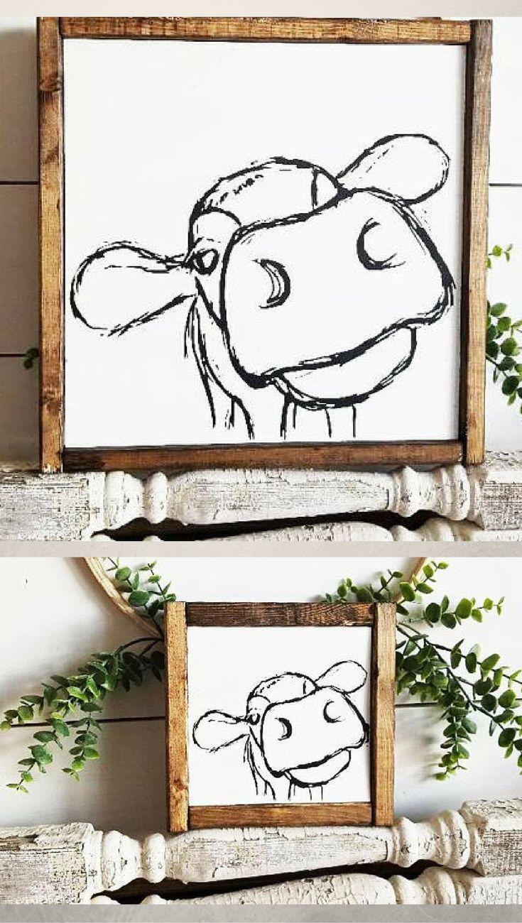 Dieses Kuhzeichen bringt mich zum Lachen !!! Liebe es!! Bauernhaus Zeichen