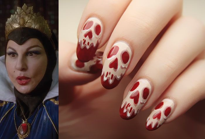 The Evil Queen from Disney's Descendants is accompanied by poison apple themed nail art