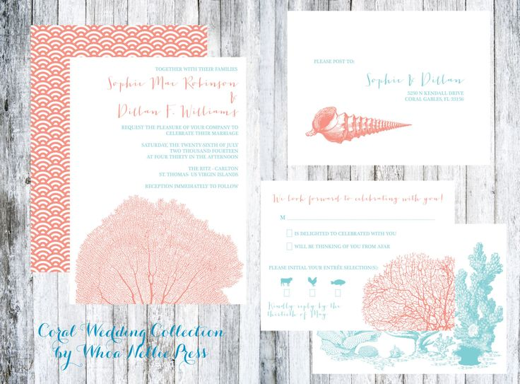 Coral And Shell Beach Wedding Invitations