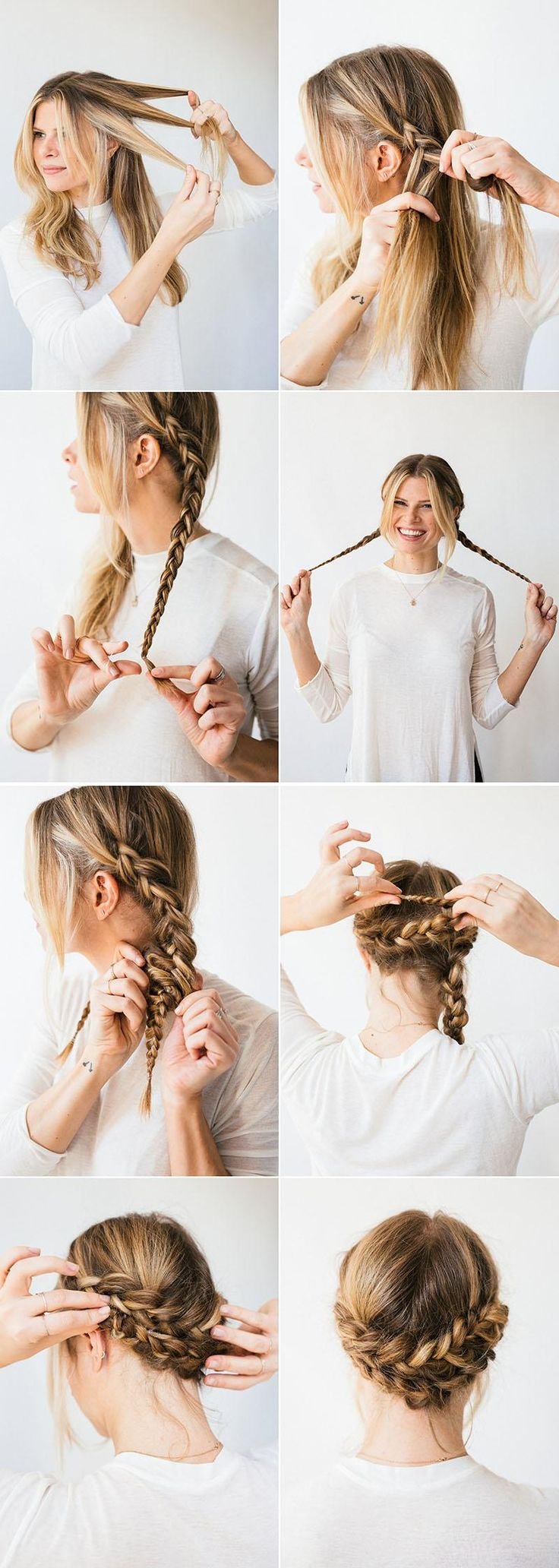 Pulled back but not a ponytail: meet your new favorite hairstyle, the horseshoe braid.