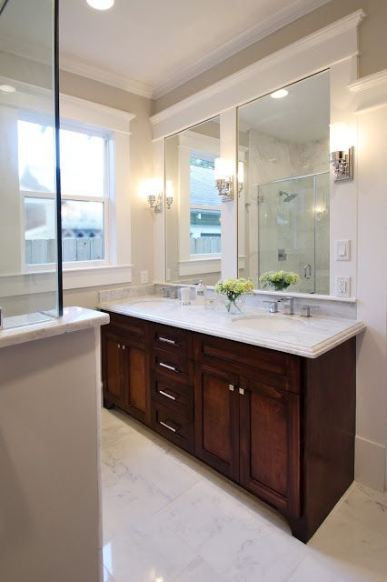 Heights houston bungalow remodel double vanity and plenty of task lighting marie flanigan Bathroom vanities houston tx