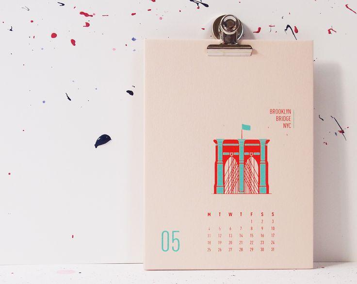 Buildings Of New York City - Brooklyn Bridge, mmmMAR Illustrated and hand screened by Marieken Hensen, Calendar 2015
