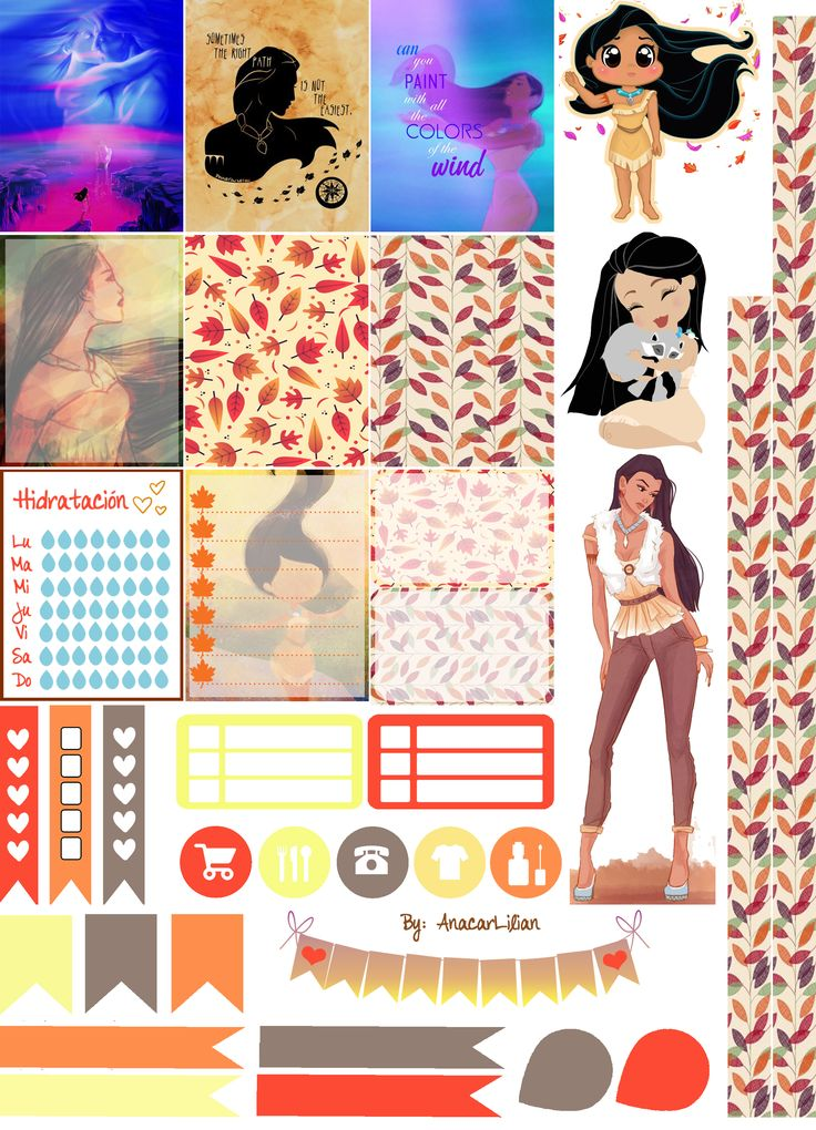 I love Pocahontas!! <3 I made this collection of printable stickers for planners from images of Pinterest and another web-sites! Feel free to use it in your planners! Hope you like it! ;)