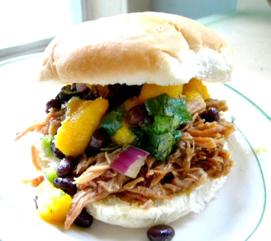 Dr. Pepper Pulled Pork with Mango Salsa In sandwiches or tacos...yum ...
