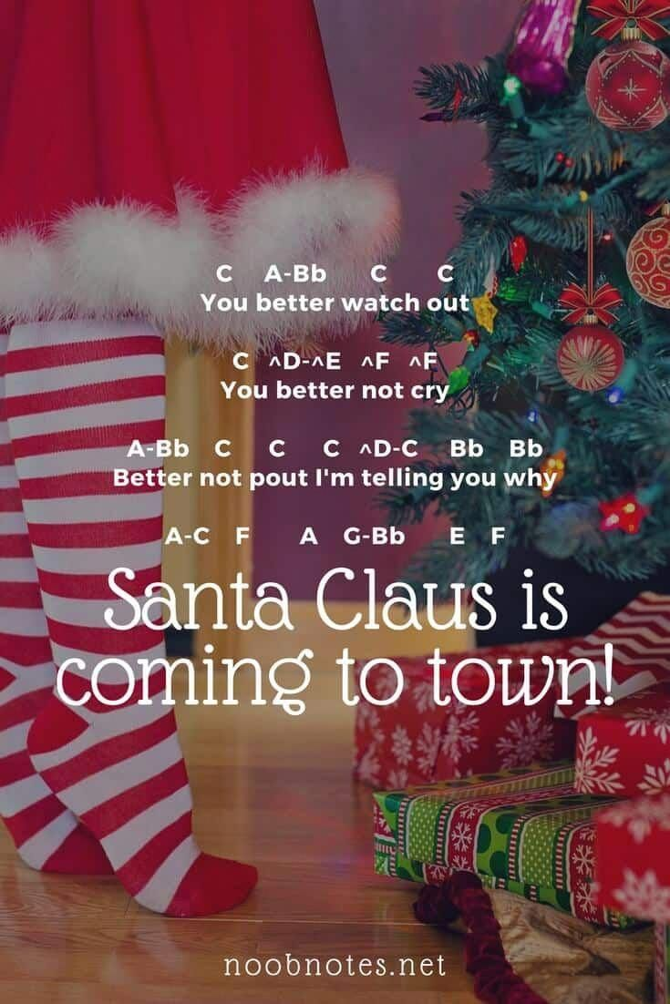 Santa Claus Is Coming To Town Traditional Music Notes For Newbies Christmas Piano Music Play Christmas Music Christmas Piano