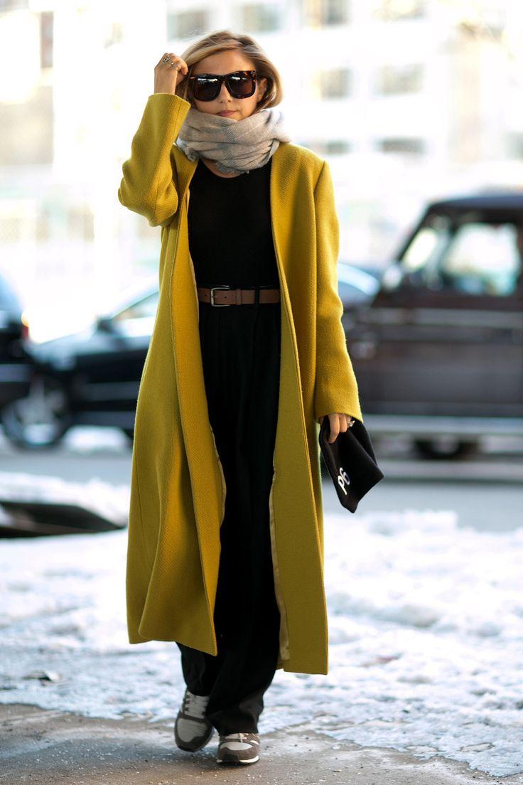hmmmm love this long coat...NYFW Street Style