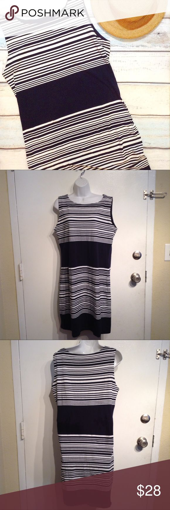 "Navy Line Plus Size Nautical Striped Dress Navy Line plus size navy blue and white nautical striped dress. Very stretchy. Size XXL. Measures 20"" flat from armpit to armpit and 38"" shoulder to hem. Perfect for wearing to the beach, 4th of July, or a summer BBQ. No modeling. Smoke free home. I do discount bundles. Navy Line Dresses"