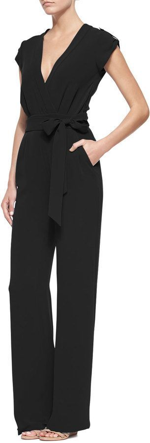 $468, Black Jumpsuit: Diane von Furstenberg Purdy Tie Waist Crepe Jumpsuit Black. Sold by CUSP. Click for more info: https://lookastic.com/women/shop_items/203045/redirect: