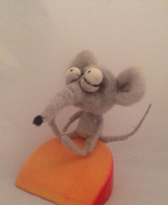 The Cheese  ooak needle felted art doll  by papermoongallery, $69.00