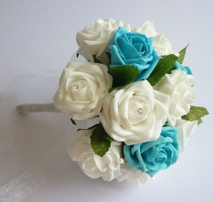 Turquoise and white bridesmaid bouquet