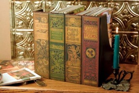Rare Books Magazine Holders. Appears to be four distinguished rare book titles on your bookshelf.