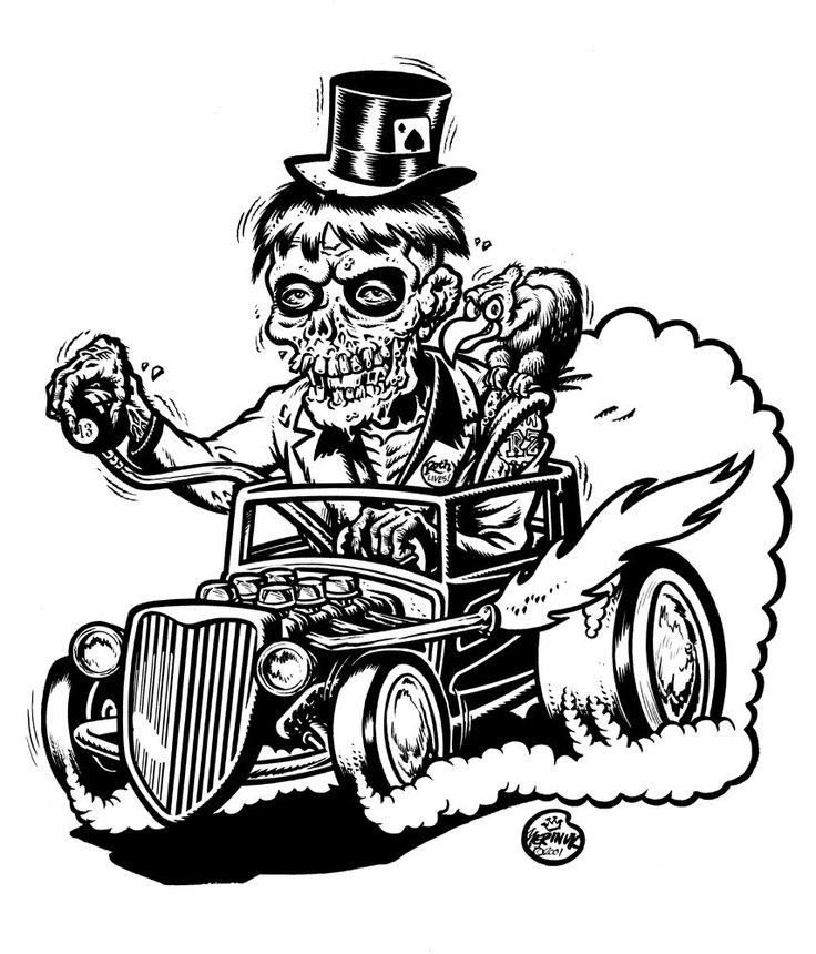 zombie in the style of an ed roth cartoon