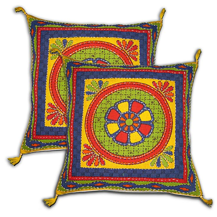 Pillow Covers Multicoloured Set of 2 Embroidered Cotton Pillow Cases from India 16 x 16 inches