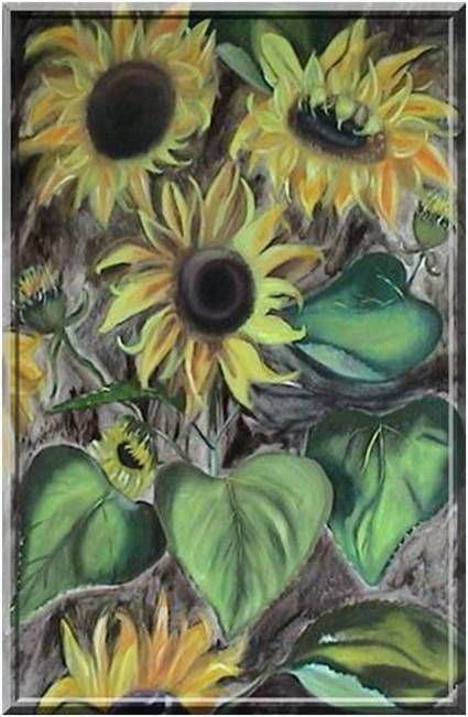 Art, sunflowers - oil painting canvas
