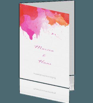 Aquarel watercolor trouwkaart roze met rood. #aquarel #trouwkaarten