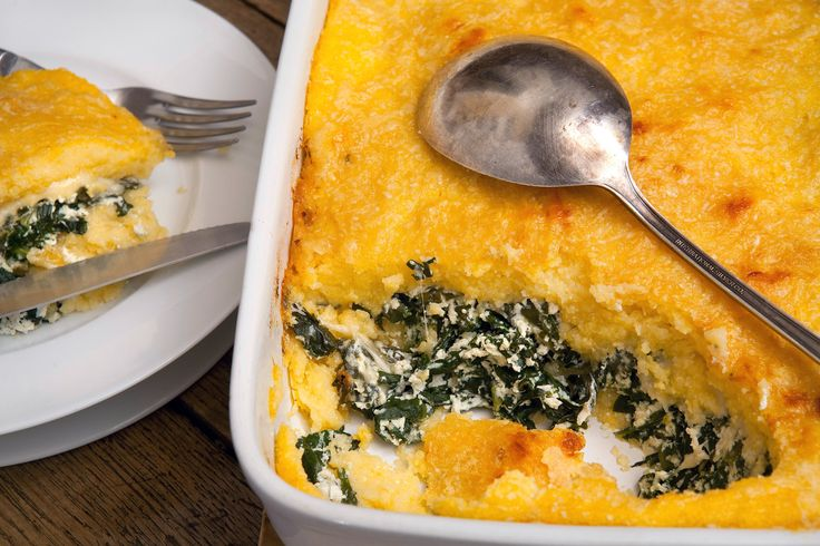 david tanis's polenta al forno with spinach + ricotta