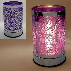 Electric Candle Warmers | Stainless Pattern Wrap Flower Electric Oil Tart Warmer Burner Purple ...