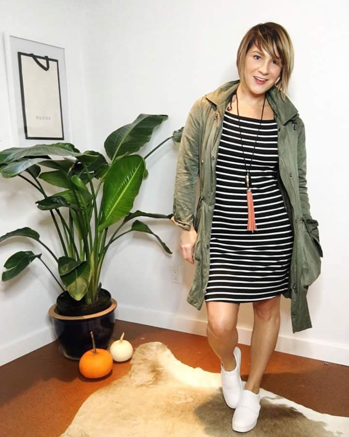 Black Striped Short Dress Styled With Jacket And Sneakers