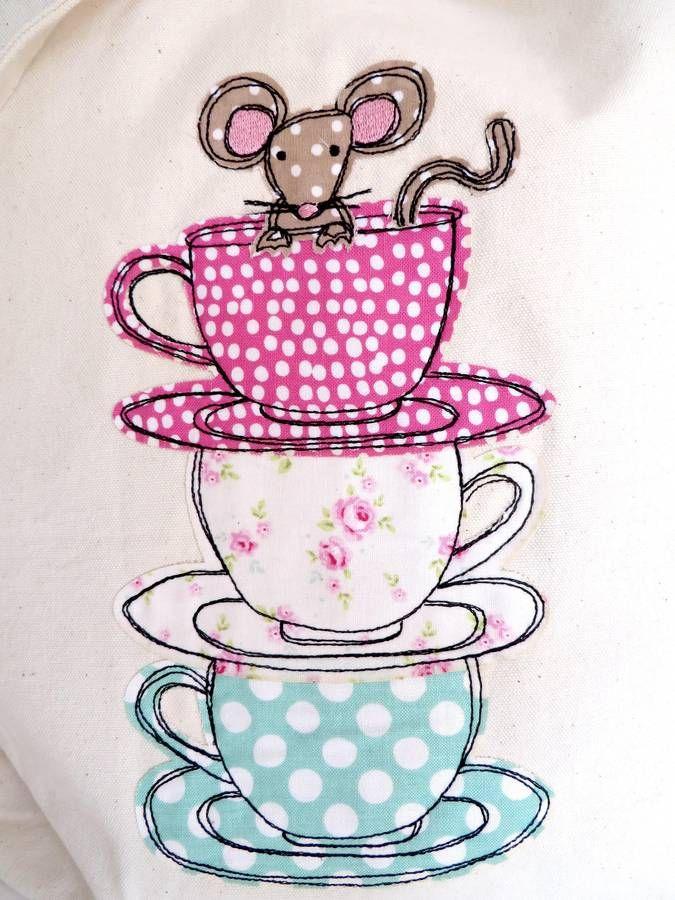 Teacup Mouse Canvas Shopper Bag