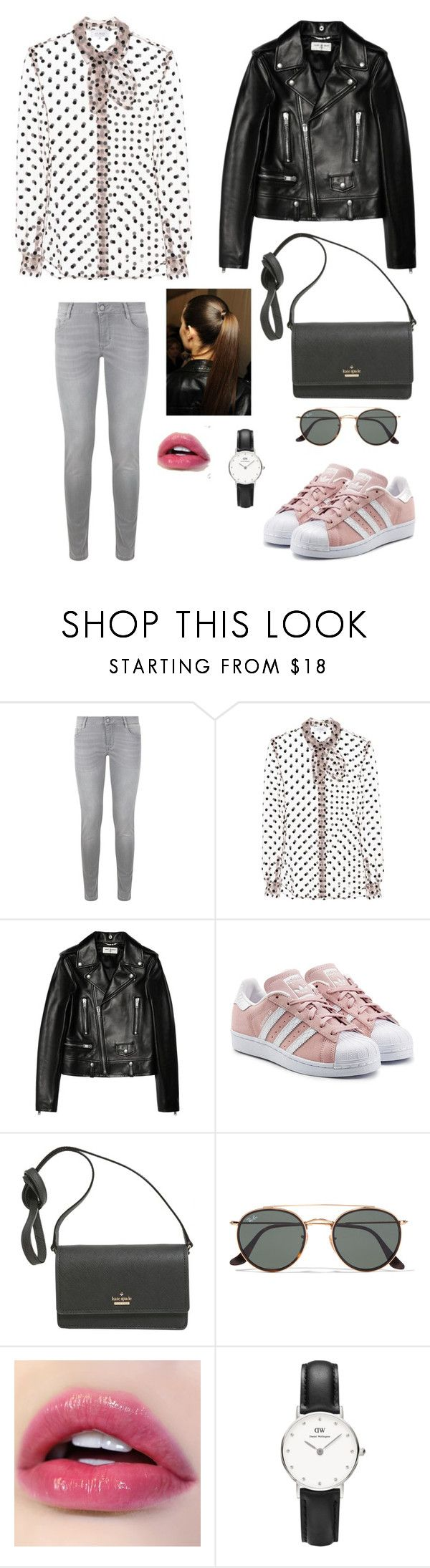 """Classique look"" by andreallaustin ❤ liked on Polyvore featuring Maje, Isa Arfen, Yves Saint Laurent, adidas Originals, Kate Spade, Ray-Ban and Daniel Wellington"