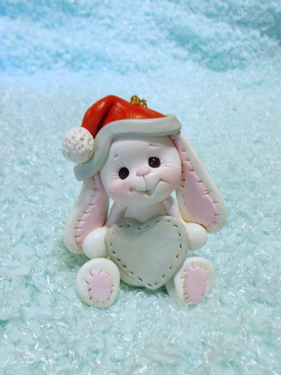 Кролик рождественские украшения: зайчик, заяц, кролик, день рождения Торт топпер, Рождественские украшения, полимерная глина персонализированные детский подарок, животное, животное