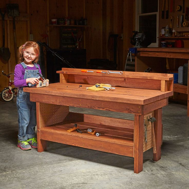 If you've got the time, build something instead of buying! Give your child a chance to make projects on their own DIY workbench — a smaller-scale version of a classic design that's been in use for over a century. Check out these free plans for the mini classic DIY workbench for kids. It's just the right size!
