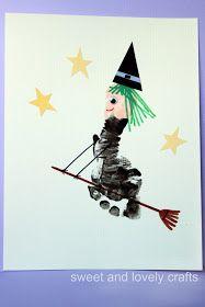 Halloween: heks van voetafdruk flying witch