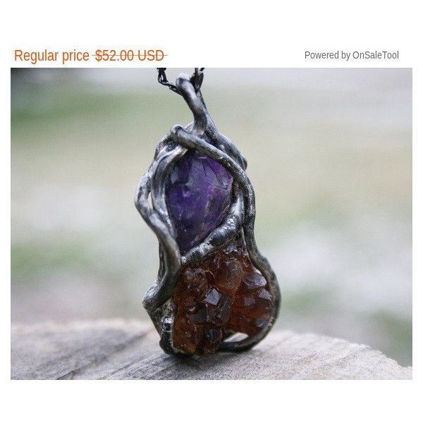 raw necklace, raw citrine pendant, citrine necklace, amethyst... (190 PLN) ❤ liked on Polyvore featuring jewelry, necklaces, pendant jewelry, amethyst stone necklace, citrine jewelry, crystal stone necklace and crystal necklace