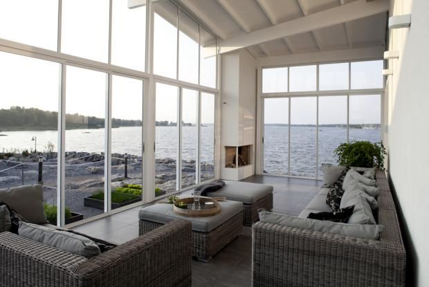 Cool glass veranda wit a fireplace - perfect for our not so warm climate! / Asuntomessut 2011