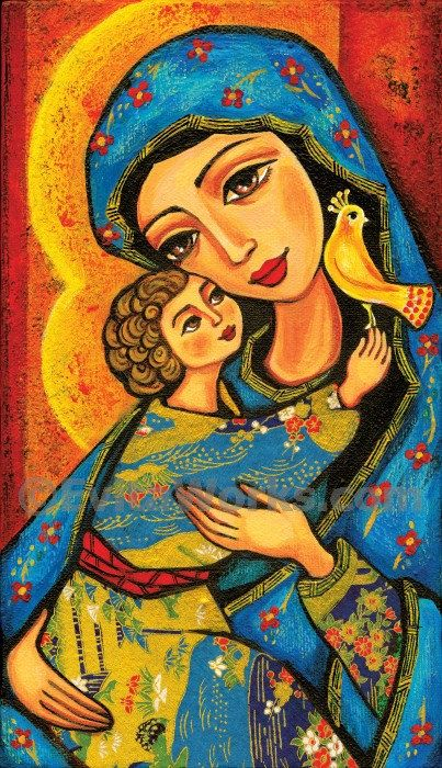 Religious folk art icon Mary and Jesus child painting Virgin Mary art Mothers love Christian Motherhood print, SE Print, 6x10.5, 9x15.5