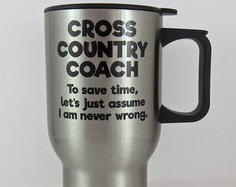 cross country coach travel mug, running coach stainless steel mug, running travel mug, gift for cross country running coach, XC CC running