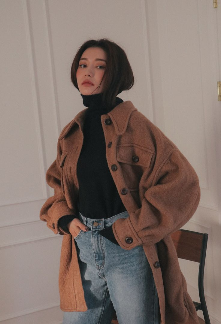 Wool Blend Oversized Button-Down Coat