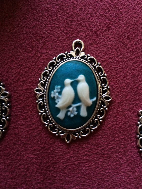Love Birds Cameo Pendant for your best friend by FairyJaneDesign