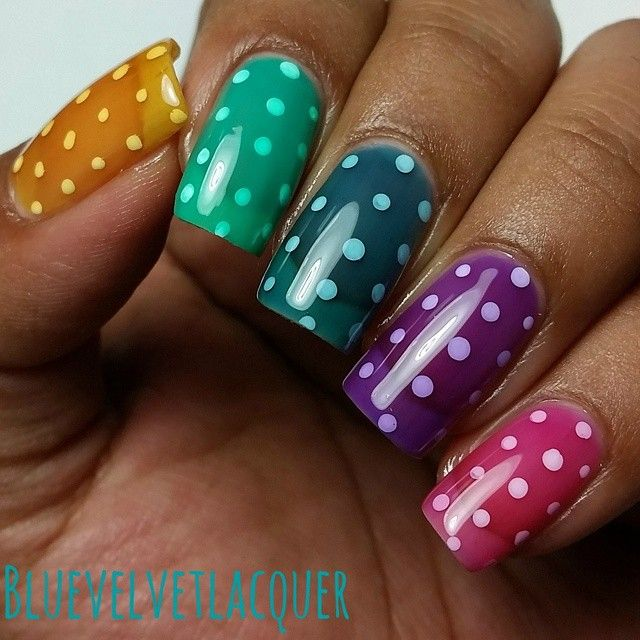 colorful pond dotticure using OPI sheer tints by bluevelvetlacquer #fav