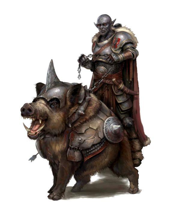 Hobgoblin Hunter and Warthog - Ironfang Invasion - Pathfinder PFRPG DND D&D d20 fantasy