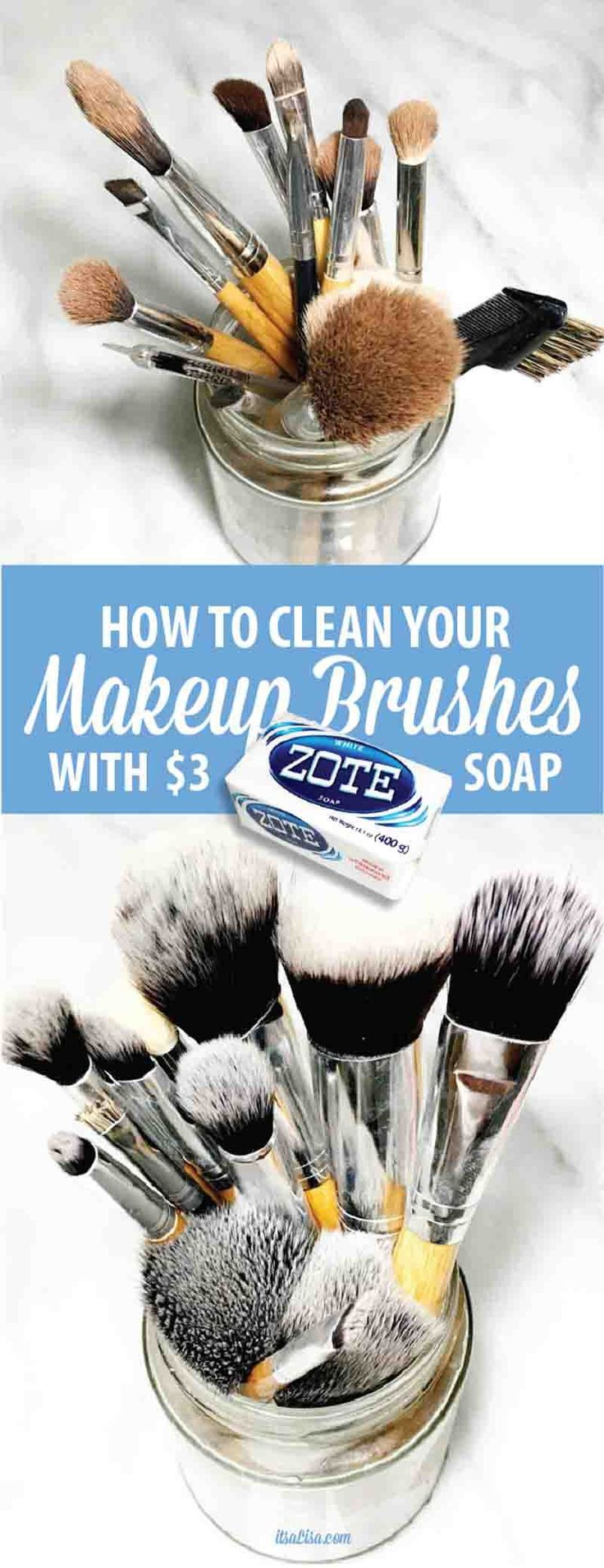 How To Wash Makeup Brushes With Zote Soap - This bright & quick soap makes cleaning your brushes a breeze! Less than 10 minutes to fluffy white makeup brushes. ;)