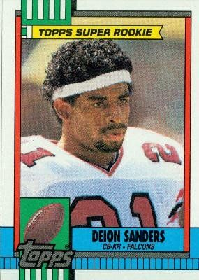 1990 Topps #469 Deion Sanders - Atlanta Falcons (Football Cards) by Football Cards. $0.01. Most Cards Shipped in Soft Sleeve and/or Top Load (See Shipping). Card Condidtion is Near Mint (NM) or Better, unless otherwise stated. Listing is for (1) One Single NFL Football Trading Card. Any Questions or Better Image Needed - Please Ask the Seller. 100,000s of Sports Cards Listed Here. 1990 Topps #469 Deion Sanders - Atlanta Falcons (Football Cards)