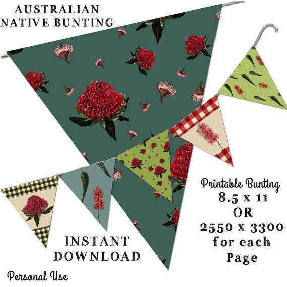 Printable Bunting  Australian Native Bunting by JustDigitalPapers