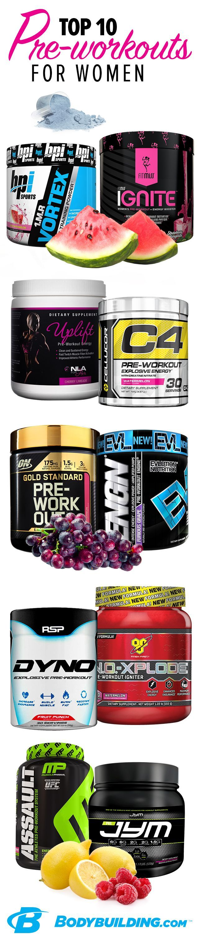 Top 10 Preworkouts for Women! Dont think you have the stamina to squeeze a session into your action-packed day? These pre-workouts have your back. Grab one on your way to the gym—they work fast to fight fatigue and focus your mind. http://Bodybuilding.com