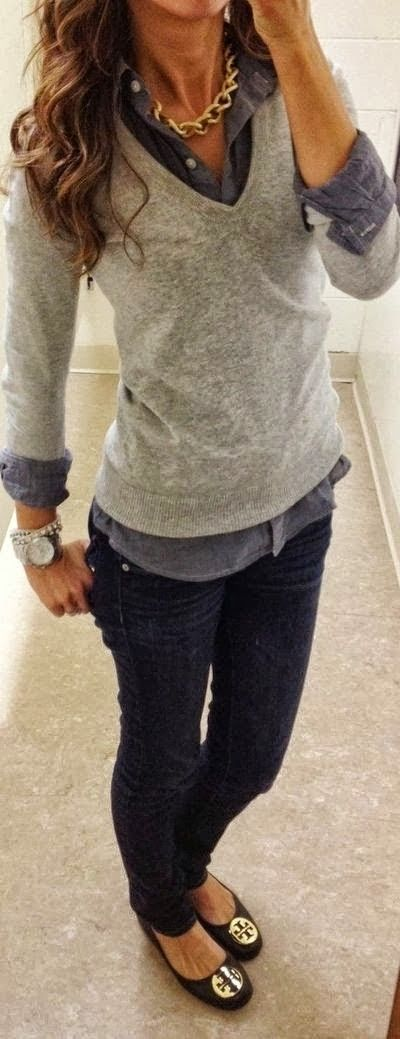 Perfect Casual Fall Dressing. Collared shirt under a sweater.