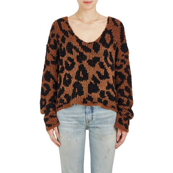 AMIRI Women's Leopard-Pattern Wool-Blend Crop Sweater ($675) ❤ liked on Polyvore featuring tops, sweaters, crop tops, long sleeve crop top, leopard print crop top, long sleeve tops and v neck long sleeve top