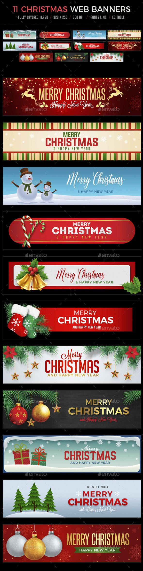 11 Christmas Web Banners - #Banners & Ads #Web Elements