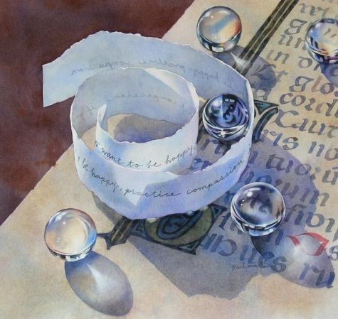 PRACTICE COMPASSION watercolor still life painting, painting by artist Barbara Fox