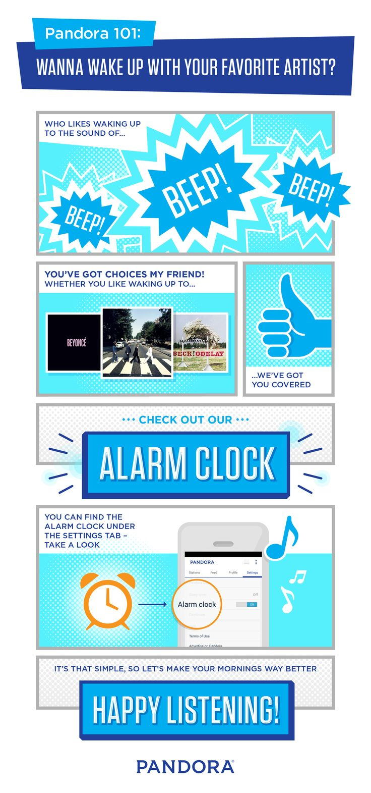 Let's make you mornings way better with the Alarm Clock from Pandora. Who doesn't want to wake up to their favorite artist?
