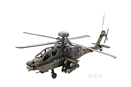 "Boeing AH-64 Apache Metal Desk Top Model 18"""" Attack Helicopter Aircraft Decor"