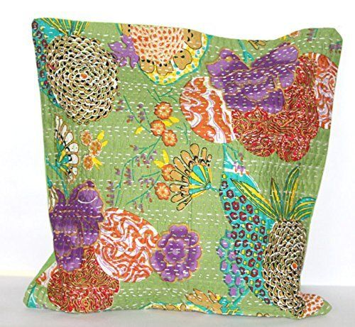 Denika Handicrafts kantha cushion cover throw pillow cases floral prints decorative pillow covers